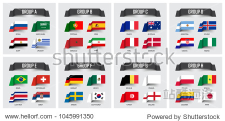 Soccer cup 2018 . Set of national flags team group A - H . Sticky note design . Vector for international world championship tournament .