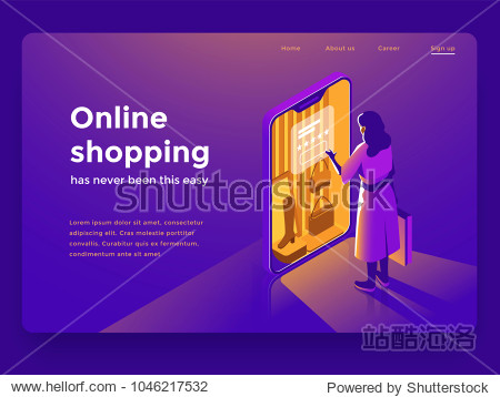 Sale  consumerism and people concept. Young woman shop online using smartphone. Landing page template. 3d vector isometric illustration.