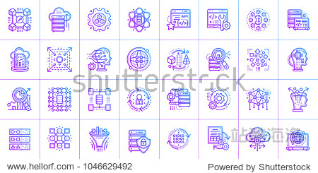 Outline icon set of Data science technology and machine learning process. Material design icon suitable for print  website and presentation