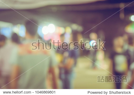 Festival Event night time with People in city Blurred defocused Bokeh abstract Background