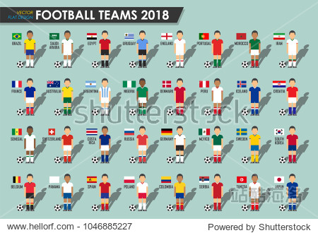 Soccer cup teams 2018 . Set of Football players with jersey uniform and national flags . Vector for international world championship tournament .