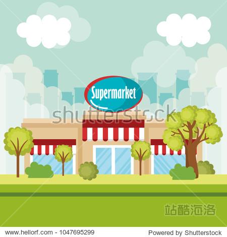 supermarket building front scene