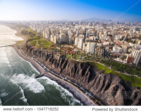 LIMA  PERU: Panoramic view of Lima from Miraflores.