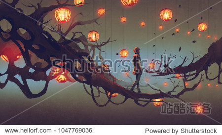 man walking on a tree branch with many red lanterns on background  digital art style  illustration painting
