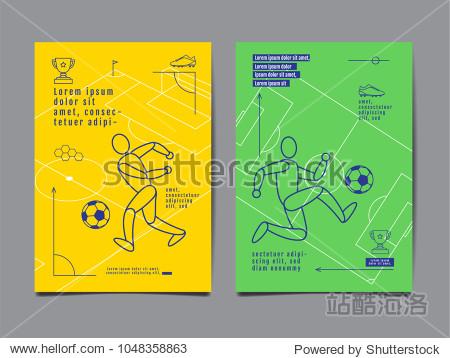 Template Sport Layout Design  Flat Design  single line   Graphic Illustration  Football  Soccer  Vector Illustration.