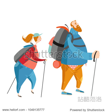 Two funny cartoon characters are engaged in hiking. Fat man and woman walking. Vector illustration on white background.