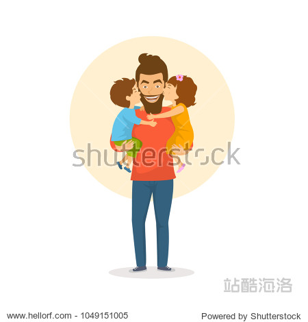 children  boy and girl  daughter and son kissing  hugging their father  happy fathers day congratulations vector illustration scene