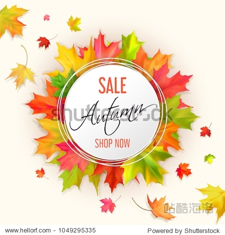 Autumn fall sale card with red  yellow  green maple leaves on a light background. White round banner and orange and black text autumn sale  shop now.