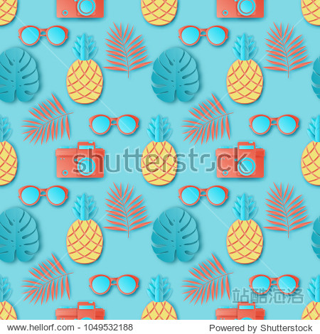 Summer seamless pattern with tropical palm leaves  retro photo camera  sunglasses and exotic fruit pineapple. Paper cut style  pastel colors