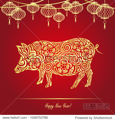 2019 Chinese New Year (year of the pig). Vector illustration with pig and hanging lanterns in paper cut style for greeting card  banner and poster design.