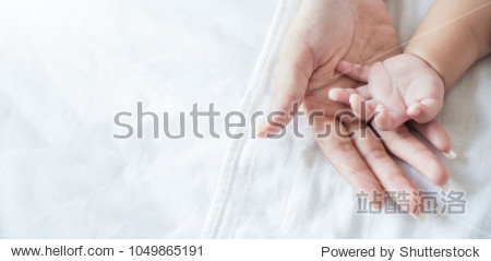 Asian parent hands holding newborn baby fingers, Close up motherâ??s hand holding their new born baby. Love family healthcare and medical body part concept