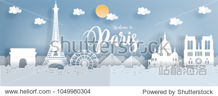 Travel poster with Paris  France famous landmarks in paper cut style. Vector illustration.