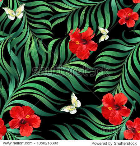 Seamless tropical vector background with palm leaves  hibiscus and butterflyes.