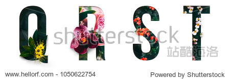 Flower font Alphabet q  r  s  t  made of Real alive flowers with Precious paper cut shape of letter. Collection of brilliant flora font for your unique decoration in spring  summer & many concept idea