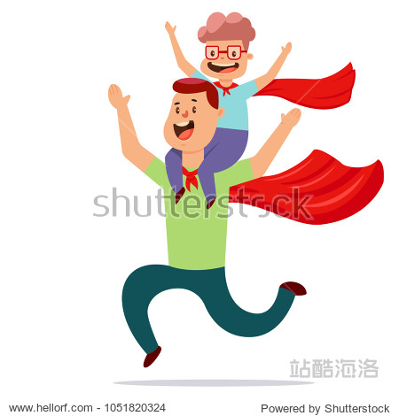 Father and son dressed in superheroes costume play together. Vector cartoon illustration of dad and child in red cloaks.