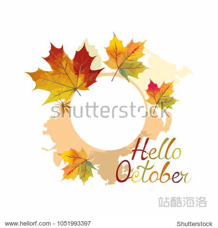 Hello October.a wreath of maple leaves .autumn illustration