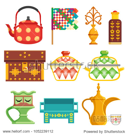 old traditional heritage icons in Arab gulf countries ( United Arab Emirates UAE  Saudi Arabia KSA   Qatar  Bahrain   Kuwait  and Oman )  Ramadan kareem isolated vector illustration