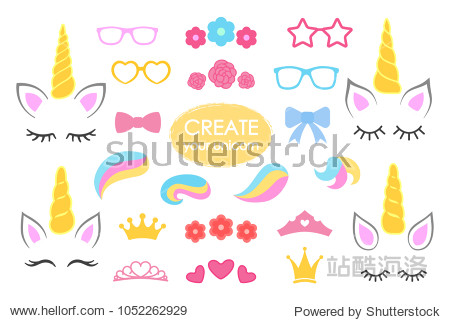 Create your own unicorn - big vector collection. Unicorn constructor. Cute unicorn face. Unicorn details - Horhs  eyelashes  ears  hairstyles  flowers  crowns  glasses bows Vector illustration