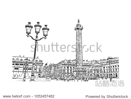 Building view in Paris Capital of France. Hand drawn sketch illustration in vector.