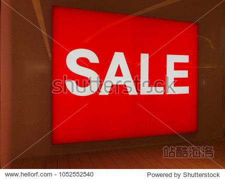 Sale season display or back drop in front of shop. Sale sign. Red background color