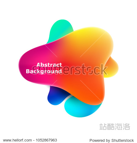 Plastic colorful shapes. Fluid multicolor banner. Abstract gradient shapes on white background