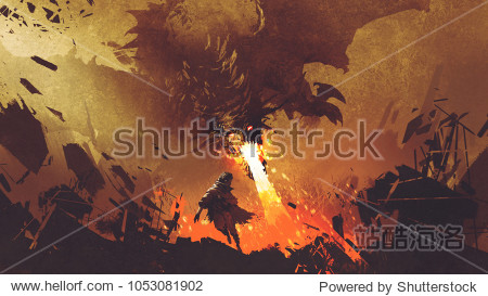 fantasy scene showing the young boy running away from the fire dragon  digital art style  illustration painting