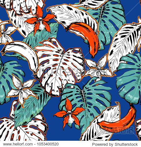 Hand drawn seamless pattern with tropical outline and palm leaves on electric blue background. Black and white mix with fresh orange colorful line forest Vector sketch.