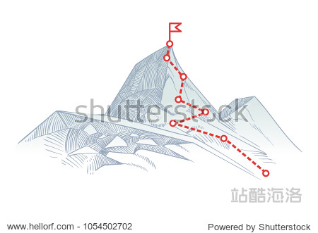 Mountain climbing route to peak. Business journey path in progress to success vector concept. Mountain peak  climbing route to top rock illustration