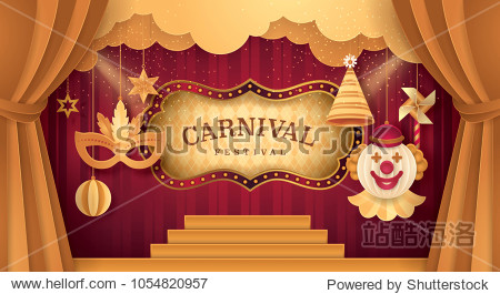 Premium Gold Curtains stage with Circus Frame Border  Cloud and Hanging Carnival Mask  Happy Clown  Party hat  Pinwheel  ball  Fun Fair  Day Scene festival Theme Theater  Paper art vector illustration