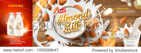 Top view of almond milk in glass cup with splashing effect in 3d illustration