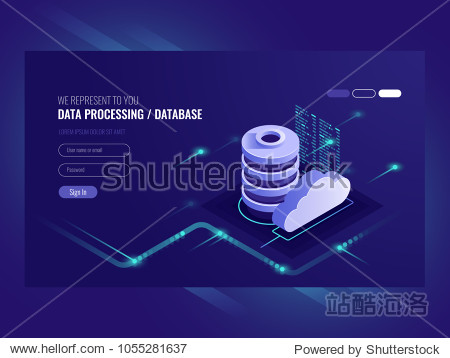 Big data flow processing concept  cloud database  isometric vector  web hosting and server room icons ultraviolet