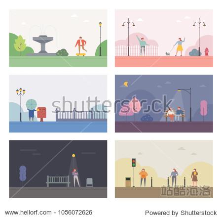 Stories of the park background. vector illustration flat design