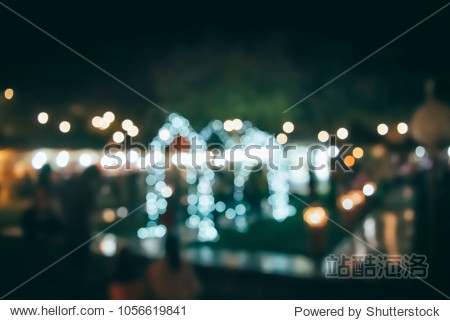 (Vintage tone) Festival Event night Blurred defocused Bokeh abstract Background