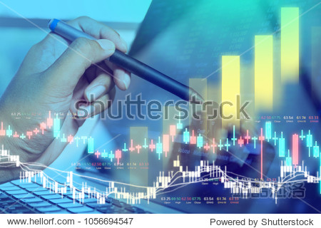 Businessman on digital stock market financial positive indicator background. Double exposure of growth graph futuristic currency chart. investor wall street technology. economic money exchange concept