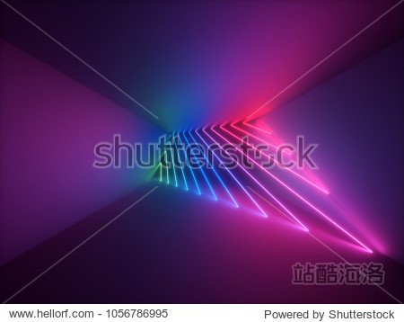 3d render  modern abstract geometric background  minimalistic room interior  shining neon light  empty showcase  primitive architecture  shop display  glowing edges  vivid colors