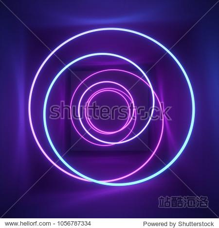 3d render  neon light  tunnel  laser show  illumination  glowing wavy lines  abstract fluorescent background  optical illusion  room  corridor  night club interior