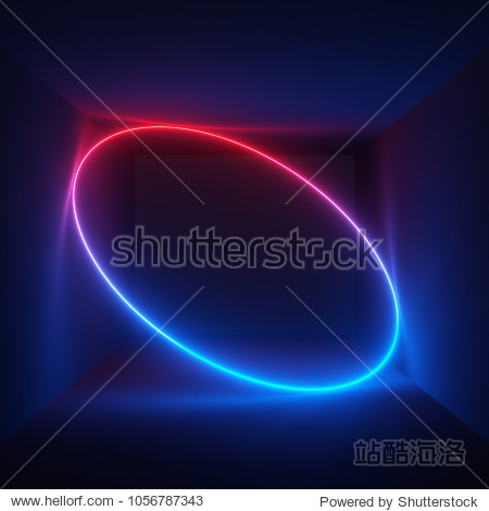 3d render  neon light  oval shape  laser show  illumination  glowing wavy lines  abstract fluorescent background  optical illusion  room  corridor  night club interior