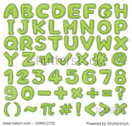 Font design for English alphabets and numbers in green illustration