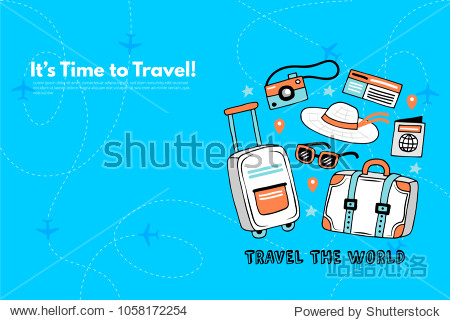 It's Time to Travel.Trip to World. Travel to World. Vacation. Road trip. Tourism. Travel banner. Journey. Travelling illustration. Modern flat design. EPS 10. Colorful.
