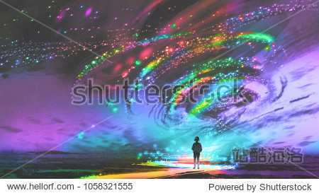 little girl standing in front of fantasy cosmic storm  the black tornado with colorful stars  digital art style  illustration painting