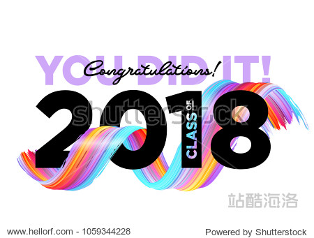 Congratulations Graduates Class of 2018 Vector Logo. Creative Party Invitation  Banner  Poster  Card. Background Design with Typography and Bright 3D Ink Spiral. Label for College Graduation Ceremony.