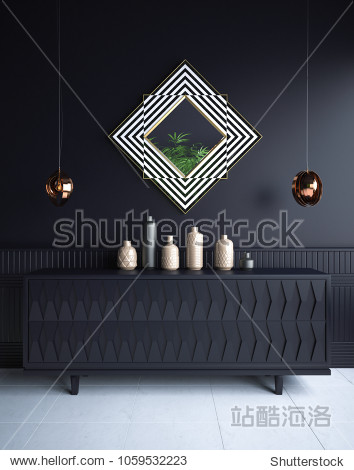 Luxury minimalist dark living room interior  with commode vases  chandeliers and mirror   3d render