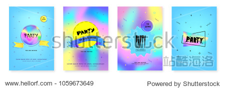 Set of Vertical Party flyers. Holography elements. Template for holiday design. Vector illustration.