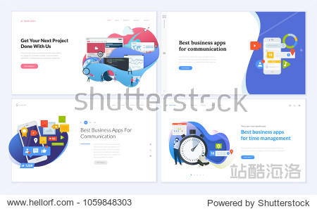 Set of creative website template designs. Vector illustration concepts for website and mobile website design and development  business apps  marketing  social media apps  time and project management.