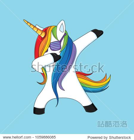 dabbing unicorn with blue background