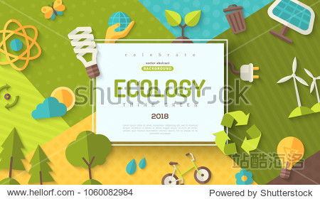 Environmental protection  ecology concept horizontal banner in flat style with square frame on colorful modern geometric background. Vector illustration for web banners and promotional materials.