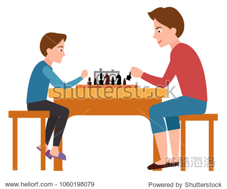 Father and son playing chess sitting on chairs at table vector illustration isolated on white. Fatherhood concept poster  dad spend free time with child