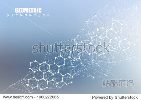 Modern futuristic background of the scientific hexagonal pattern. Virtual abstract background with particle  molecule structure for medical  technology  chemistry  science. Social network vector