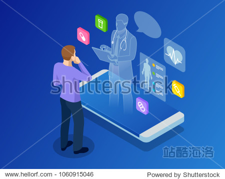 Isometric healthcare  diagnostics and online medical consultation app on smartphone. Digital health concept with a doctor standing on phone surrounded by assorted medical icons. Innovative technology