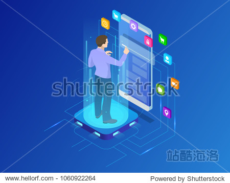 Isometric programmer working in a software develop company office. Developing programming and coding technologies concept. UX UI User Interface and User eXperience Process.